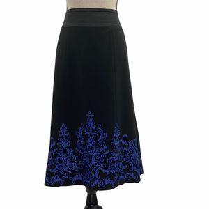 Silkland Black Blue Paisley Midi Formal Skirt 16